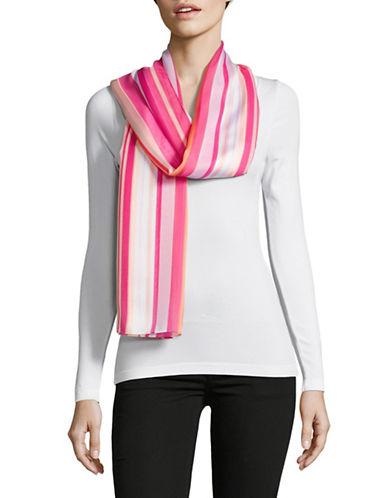 Calvin Klein Printed Satin Stripe Scarf-PINK-One Size