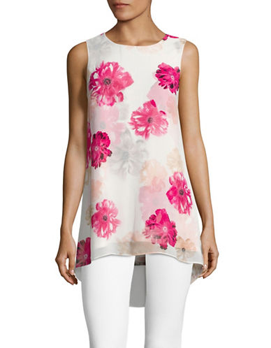Calvin Klein Sleeveless Floral Print Chiffon Overlay Trapeze Top-ROSE MULTI-Large 89150860_ROSE MULTI_Large