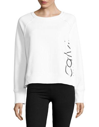 Calvin Klein Performance Raglan Sleeve Logo Sweatshirt-WHITE COMBO-X-Large 88901689_WHITE COMBO_X-Large