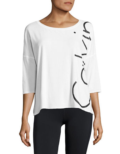 Calvin Klein Performance Raglan Sleeve Logo Sweatshirt-WHITE-Medium 88901682_WHITE_Medium