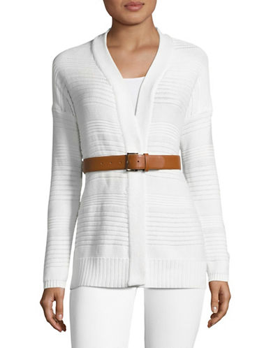 Tommy Hilfiger Long Sleeve Cardigan with Faux Leather Belt-WHITE-X-Small