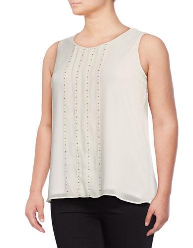 Calvin Klein Plus Studded Sleeveless Combo Top-WHITE-1X 89081812_WHITE_1X