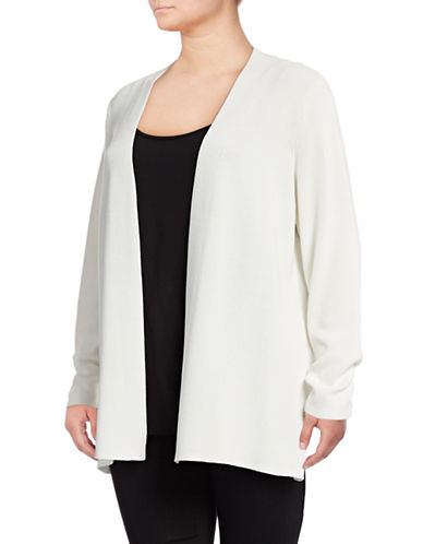 Calvin Klein Plus Stretch Rib Cardigan-WHITE-0X