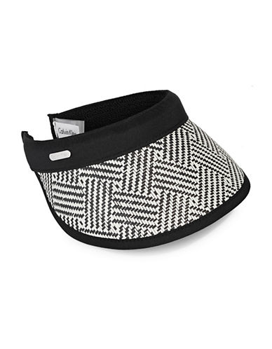 Calvin Klein Graphic Weave Straw Visor-BLACK-One Size