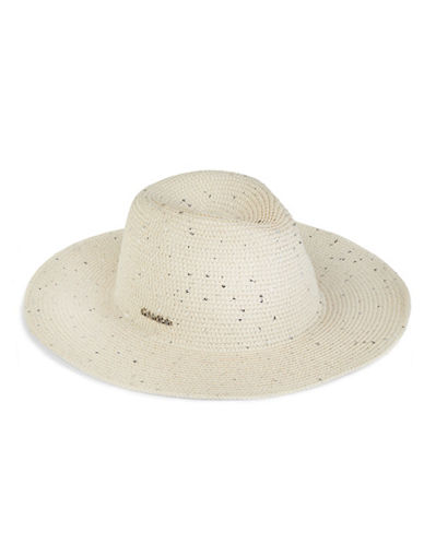 Calvin Klein Sequined Straw Panama Hat-BEIGE-One Size