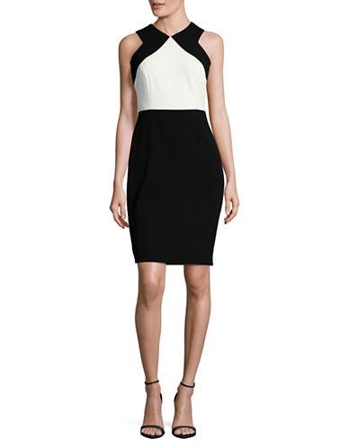 Calvin Klein Two-Tone Crepe Sheath Dress-BLACK/WHITE-8