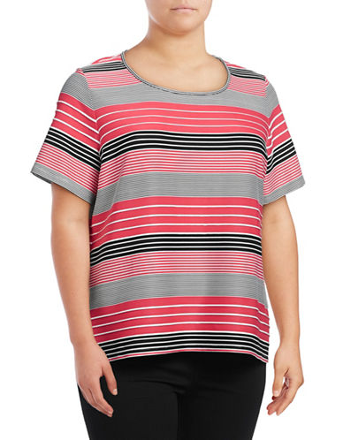Calvin Klein Plus Striped Scoop-Neck Top-PINK-1X