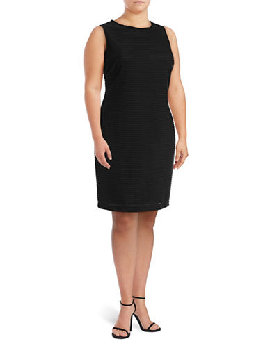 Calvin Klein Plus Textured Stripe Shift Dress-BLACK-22W