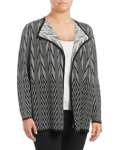 Calvin Klein Plus Jacquard Drape Front Cardigan-BLACK-1X