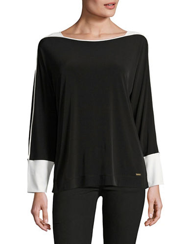 Calvin Klein Colourblocked Dolman Sleeve Top-BLACK-Small 89012042_BLACK_Small