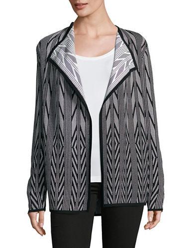 Calvin Klein Jacquard Drape Front Cardigan-BLACK-X-Small 89011989_BLACK_X-Small