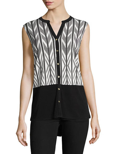 Calvin Klein Sleeveless Print Blocked Top-BLACK-Small 89012101_BLACK_Small