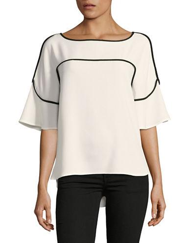 Calvin Klein Flutter-Sleeve Blouse-WHITE-X-Large