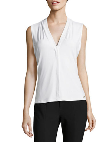 Calvin Klein V-Neck Drape Sleeveless Top-WHITE-Small