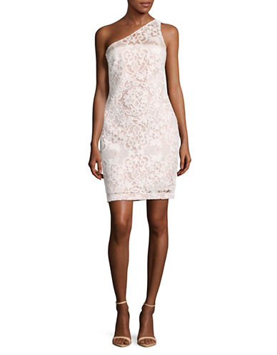Calvin Klein One Shoulder Lace Sheath Dress-WHITE-10