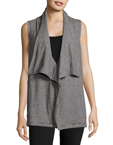 Calvin Klein Performance Striped Drape Front Vest-BLACK COMBO-Small 88866951_BLACK COMBO_Small