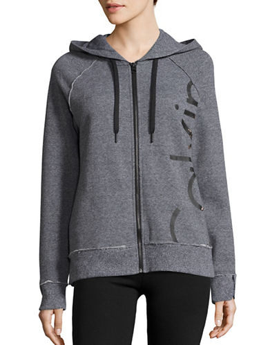 Calvin Klein Performance Logo Full-Zip Hoodie-BLACK HEATHER-Large 88866897_BLACK HEATHER_Large