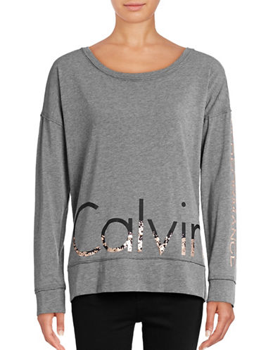 Calvin Klein Performance Long Sleeve Logo Performance T-Shirt-HEATHER GREY/ROSE GOLD-X-Large 88866942_HEATHER GREY/ROSE GOLD_X-Large