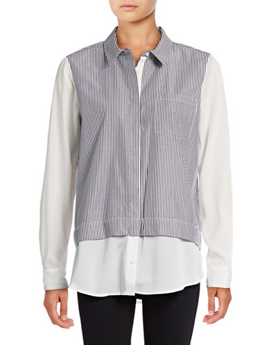 Calvin Klein Stripe Poplin Shirt-BLACK-Large