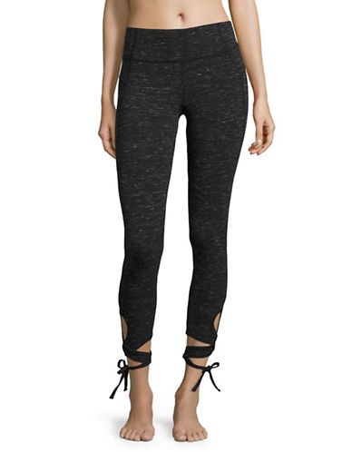 Calvin Klein Performance Wrap Tie Ankle Leggings-BLACK PEARL HEATHER GREY-Large 89093799_BLACK PEARL HEATHER GREY_Large