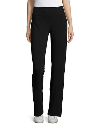 Calvin Klein Performance High Waist Straight Leg Pants-BLACK-Medium