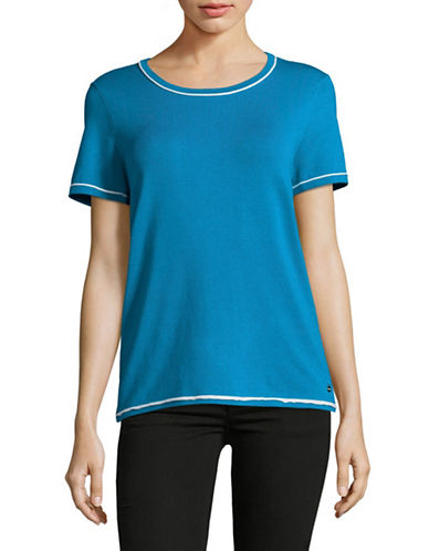Calvin Klein Piped Sweater Tee-BLUE-Large