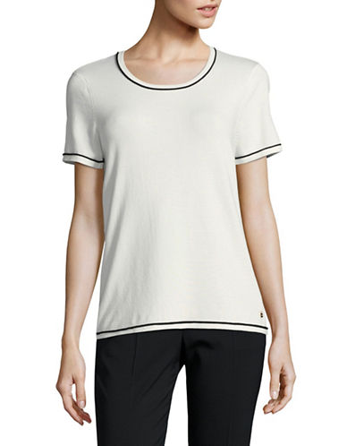 Calvin Klein Piped Sweater Tee-NATURAL-Small