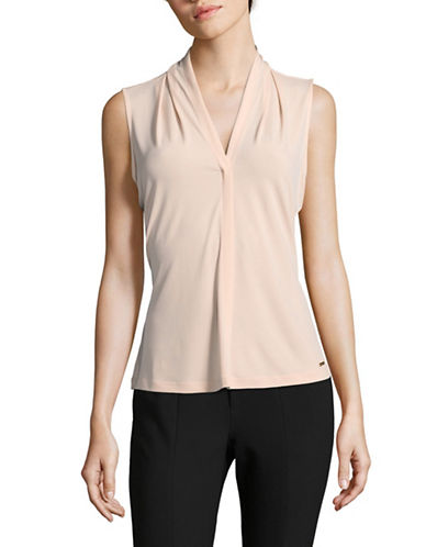 Calvin Klein V-Neck Drape Sleeveless Top-PINK-Medium 89690236_PINK_Medium