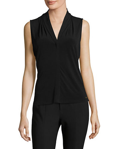 Calvin Klein V-Neck Drape Sleeveless Top-BLACK-Large