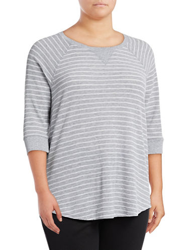 Calvin Klein Performance Plus Striped Raglan Sleeve Top-GREY-3X 89078015_GREY_3X