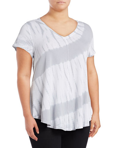Calvin Klein Performance Plus Tie-Dye V-Neck Stretch Tee-GREY-1X 89078025_GREY_1X
