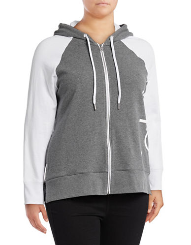 Calvin Klein Performance Plus Raglan Sleeve Logo Hoodie-GREY-1X 89078040_GREY_1X