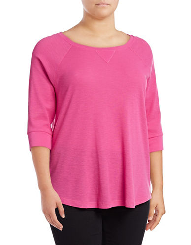 Calvin Klein Performance Plus Waffle Knit Raglan Sleeve Top-PINK-2X 89078038_PINK_2X