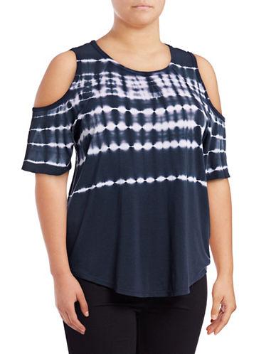 Calvin Klein Performance Plus Tie Dye Cold-Shoulder T-Shirt-BLUE-1X 89078016_BLUE_1X
