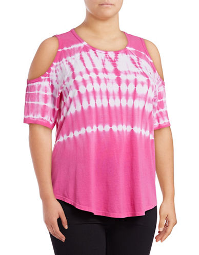 Calvin Klein Performance Plus Tie Dye Cold-Shoulder T-Shirt-PINK-1X 89078019_PINK_1X