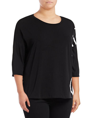 Calvin Klein Performance Plus Dolman Sleeve Logo T-Shirt-BLACK-2X 89078005_BLACK_2X