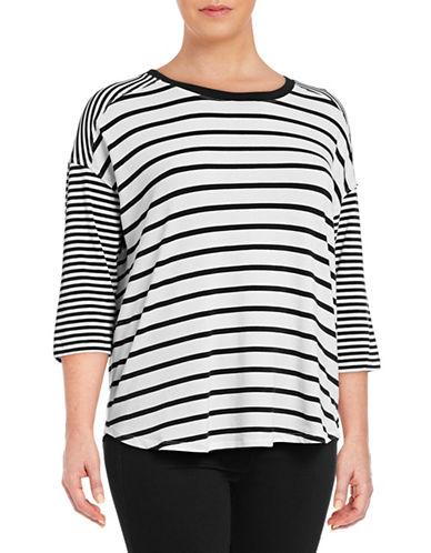 Calvin Klein Performance Plus Striped Dolman Stretch T-Shirt-GREY-3X 89078030_GREY_3X