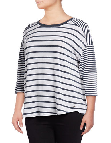 Calvin Klein Performance Plus Striped Dolman Stretch T-Shirt-BLUE-1X 89078031_BLUE_1X