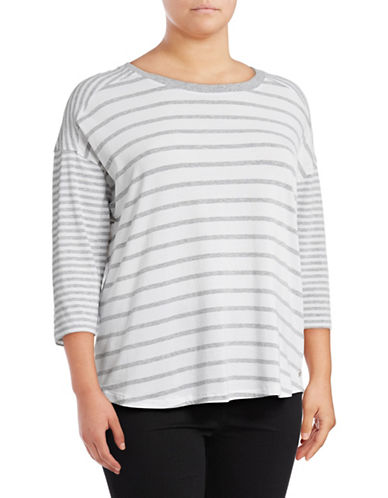 Calvin Klein Performance Plus Striped Dolman Stretch T-Shirt-GREY-1X 89078034_GREY_1X