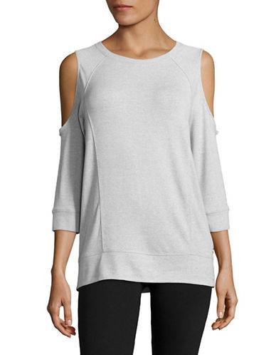 Calvin Klein Performance Marled Cold-Shoulder Top-STONE-Small 89151247_STONE_Small