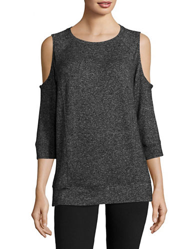 Calvin Klein Performance Marled Cold-Shoulder Top-BLACK-X-Large 89151236_BLACK_X-Large