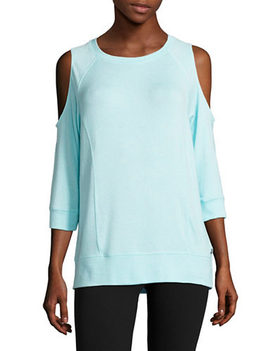 Calvin Klein Performance Marled Cold-Shoulder Top-JAMAICA BLUE-Large 89151239_JAMAICA BLUE_Large