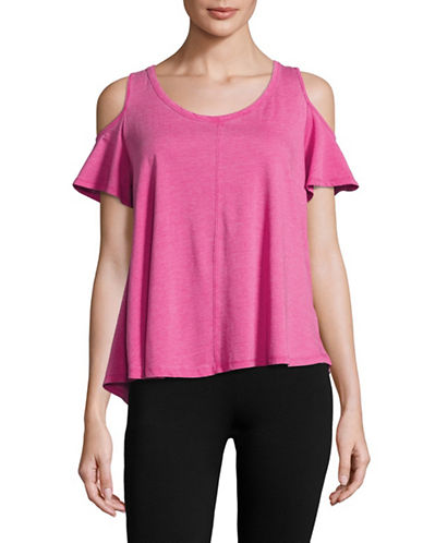 Calvin Klein Performance Cold-Shoulder Scoop Neck T-Shirt-PINKBERRY-Large 89093828_PINKBERRY_Large