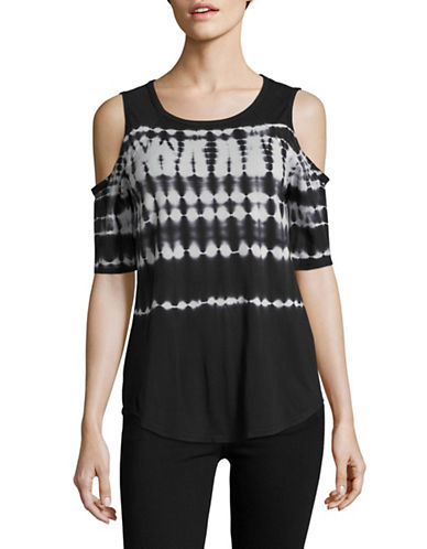 Calvin Klein Performance Stretch Performance Tie-Dye Cold-Shoulder Top-BLACK/STONE-Large 89093866_BLACK/STONE_Large