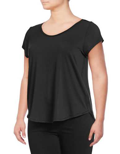 Calvin Klein Performance Plus Cage Back Mesh T-Shirt-BLACK-3X