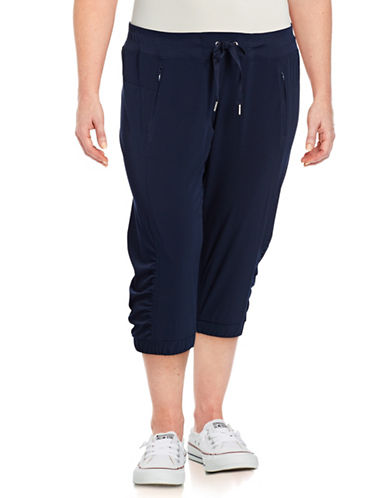 Calvin Klein Performance Plus Quick-Dry Banded Bottom Capris-BLUE-1X 89208417_BLUE_1X