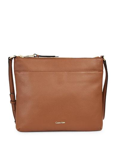 Calvin Klein Pebble Leather Crossbody-BROWN-One Size