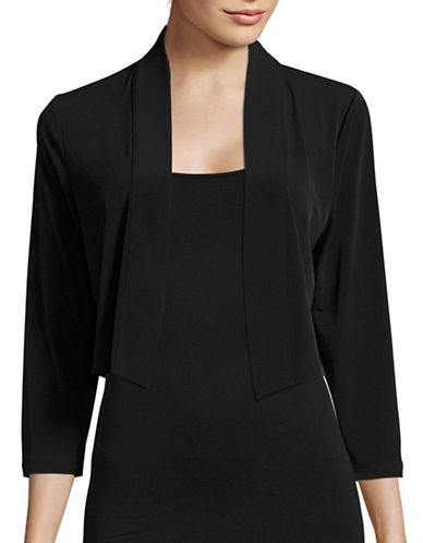 Calvin Klein Three-Quarter-Sleeve Shrug-BLACK-Medium