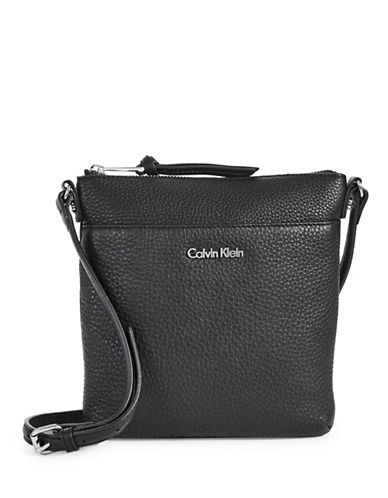 Calvin Klein Classic Pebbled Leather Crossbody-BLACK-One Size