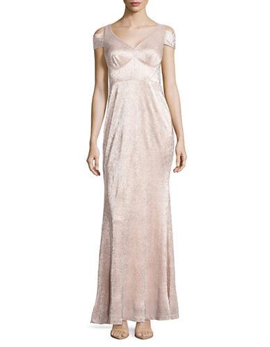 Calvin Klein Cold-Shoulder Metallic Gown-PETAL/GOLD-10
